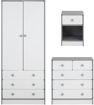Peyton Kids3 Piece Package - 2 Door, 3 Drawer Wardrobe, 3 + 2 Drawer Chest and 1 Drawer Bedside Chest