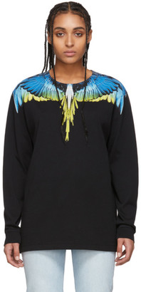 Marcelo Burlon County of Milan Black and Yellow Wings Long Sleeve T-Shirt