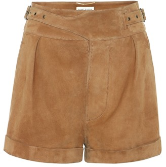 Saint Laurent High-rise suede shorts