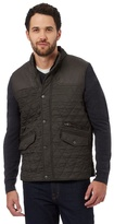Maine New England Dark Green Textured Quilted Button-up Gilet