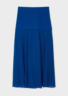 Paul Smith Women's Cobalt Blue Drop Pleat Midi Skirt