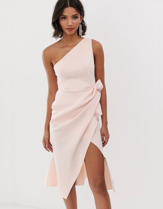 Asos DESIGN one shoulder tuck detail midi dress