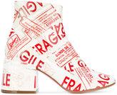 MM6 MAISON MARGIELA Fragile tape boots - women - Cotton/Buffalo Leather/Leather/Polyurethane Resin - 36
