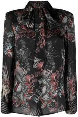 John Richmond Graphic Print Silk Shirt