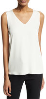 Halston Sleeveless V-Neck Blouse w/ Sheer Inserts, White