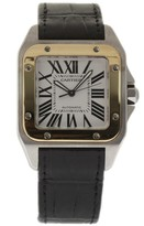 Cartier Santos 100 W20072X7 Stainless Steel/Yellow Gold & Black Leather Automatic 38mm Mens Watch