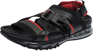 Fendi Black/Red Leather and Elastic Band Running Sandals Size 41