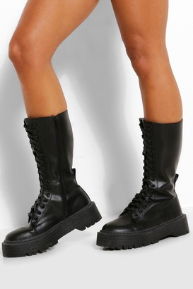 boohoo Lace Front Chunky Knee High Hiker Boot