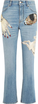 Alexander McQueen Obsession Embellished Cropped High-rise Slim-leg Jeans - Mid denim