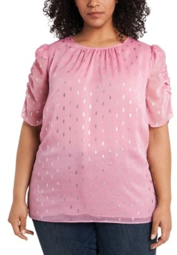 1 STATE Trendy Plus Size Foil-Print Puff-Sleeve Blouse
