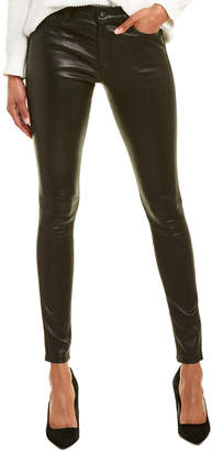 AG Jeans The Farrah Super Black Leather High-Rise Skinny Ankle Cut
