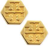 Tory Burch Hexagon Logo Stud Earrings, Golden