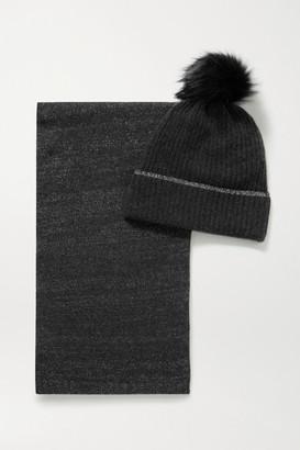 Portolano Faux Fur-trimmed Metallic Cashmere-blend Beanie And Scarf Set - Gray