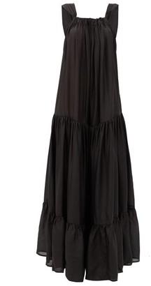 Kalita Asri Tiered Silk Maxi Dress - Black