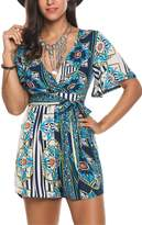 Kancystore Women's Cross Front Floral Printed Deep V Neck Romper Jumpsuit (S, )