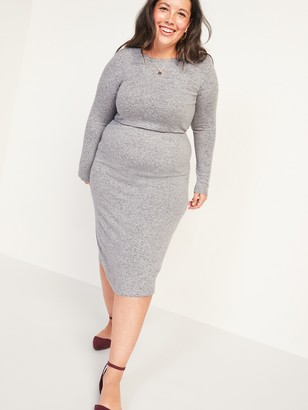 Old Navy Cozy Plush-Knit Waist-Defined Midi Dress