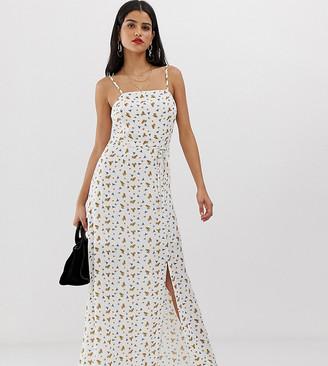 Vero Moda Tall floral square neck maxi dress-Cream