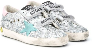 Golden Goose Kids Distressed Sequin Trainers With Star Patches
