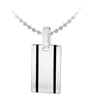"""Tuscany Silver Sterling Silver 2 Black Tripes Tag on Ball Chain of 51cm/20"""""""