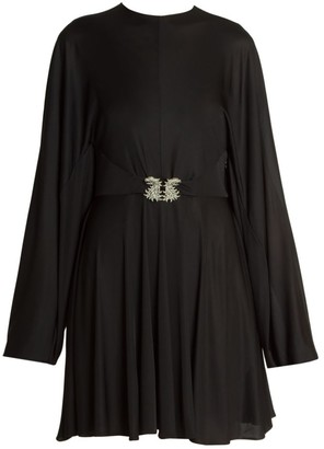 Valentino Embellished-Griffon Fluid Jersey Mini Dress