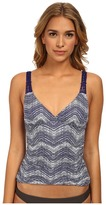 Badgley Mischka Gisele Shirred Tankini w/ Macrame Trim