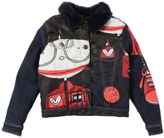 Little Marc Jacobs Stretch Denim Jacket W/ Faux Fur