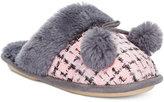 Kensie Sparkle Tweed Pom Pom Slide Slippers
