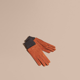 Burberry Wool Cashmere Ribbed Trim Suede Gloves , Size: 7.5, Brown
