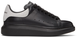 Alexander McQueen SSENSE Exclusive Black and Silver Glitter Oversized Sneakers