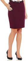 Calvin Klein Petites Luxe Stretch Suiting Belted Pencil Skirt