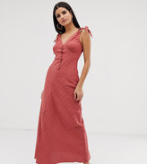 Asos Tall DESIGN Tall bias cut button front maxi dress with wooden rings