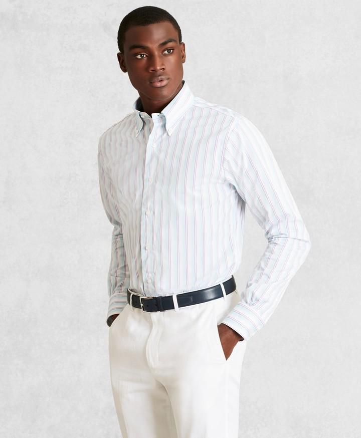 Brooks Brothers Golden Fleece Regent Fitted Dress Shirt, Button-Down Collar Multi-Stripe Poplin
