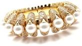 Bulgari Bvlgari 18k Yellow Gold Celtaura Diamond Pearl Bangle Bracelet