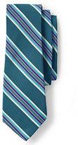 Lands' End Men's Long Silk Cotton Mogador Wide Multi Stripe Necktie-Deep Sea Stripe