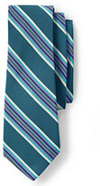 Lands' End Men's Silk Cotton Mogador Wide Multi Stripe Necktie-Zesty Orange Stripe