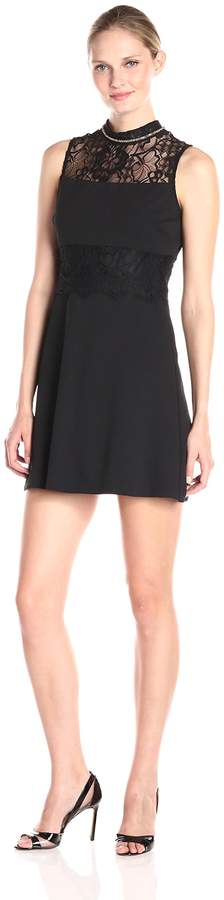 Jessica Simpson Women's Solid Scuba Crepe with Lace
