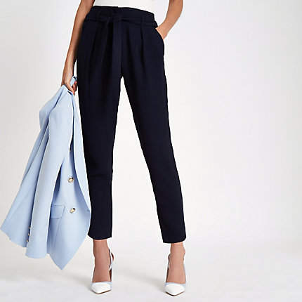 River Island Womens Navy tie waist tapered trousers