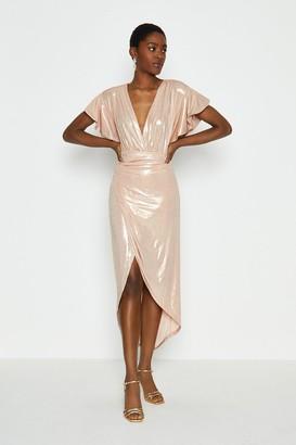 Coast Metallic Angel Sleeve Wrap Dress