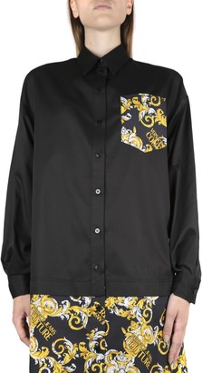 Versace Black Cotton Shirt With Baroque Print Insert
