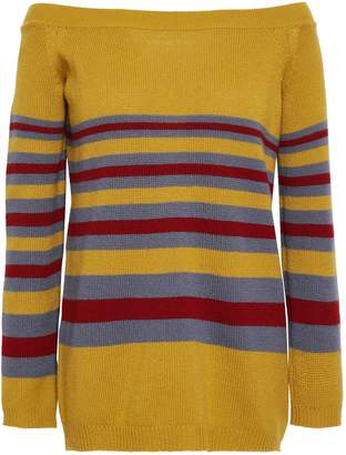 Valentino Off-the-shoulder Striped Cashmere Sweater