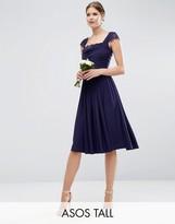 Asos Tall Wedding Lace Insert Cowl Midi Dress