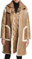 Moncler Leather Shearling-Trim Jacket w/ Quilted Puffer Vest