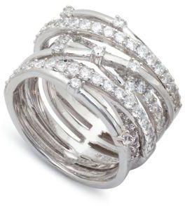 Crislu Platinum & Cubic Zirconia Entwined Ring