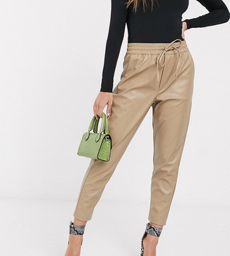 New Look Petite leather look jogger in cream