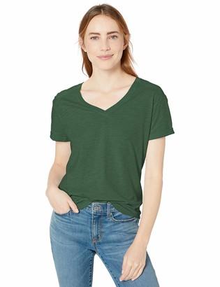 Goodthreads Vintage Cotton Roll-Sleeve V-Neck T-Shirt Cream Mini Stripe