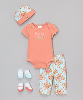 Baby Essentials Peach Floral 'Pretty Like Mommy' Five-Piece Layette Set - Infant
