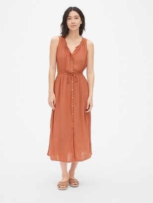 Gap Crinkle Tie-Waist Maxi Shirtdress