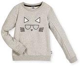 Karl Lagerfeld Choupette Crewneck Pullover Sweatshirt, Gray, Size 4-5