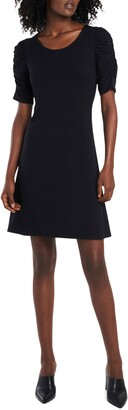 CeCe Ruched Sleeve Ponte Knit A-Line Dress