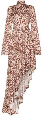 SOLACE London Marlee patterned asymmetric maxi dress